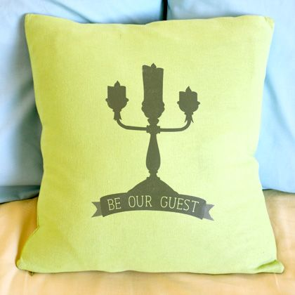 "Beauty and the Beast-Inspired ""Be Our Guest"" Throw Pillow 