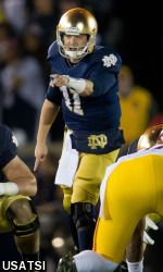Tommy Rees threw two touchdowns before leaving the game with an injury and Notre Dame snapped a five-game home losing streak to USC with a 14-10 victory on Saturday night.