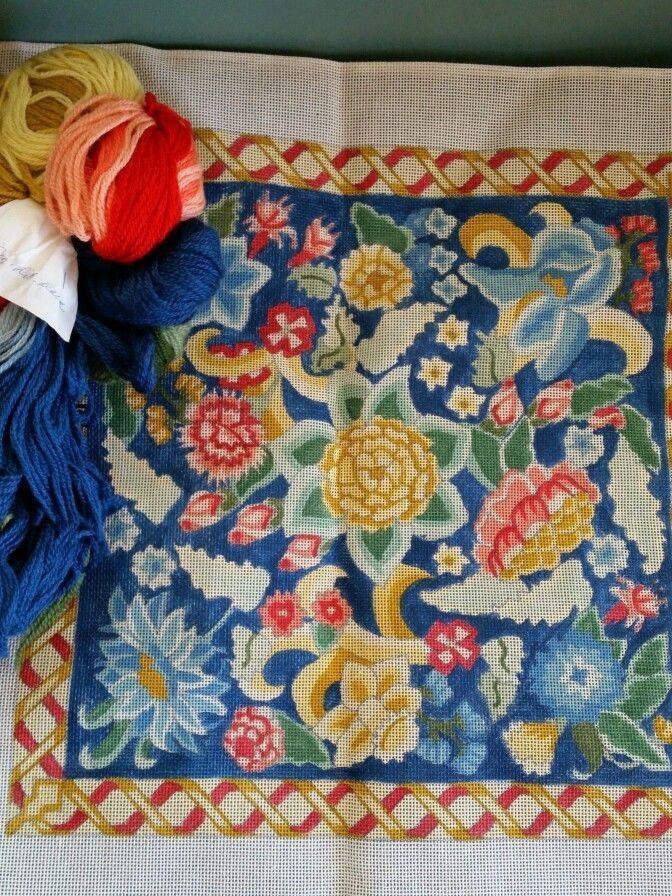 Vintage Shariane Designs Hand Painted Needlepoint Canvas and  Wool Yarn Garden #SharianeDesignsInc