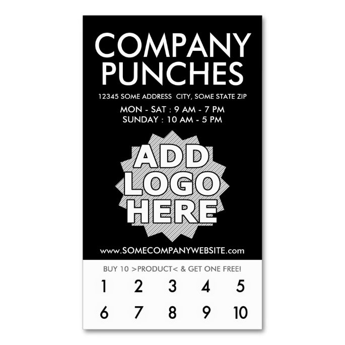 company punch card loyalty cards. Black Bedroom Furniture Sets. Home Design Ideas