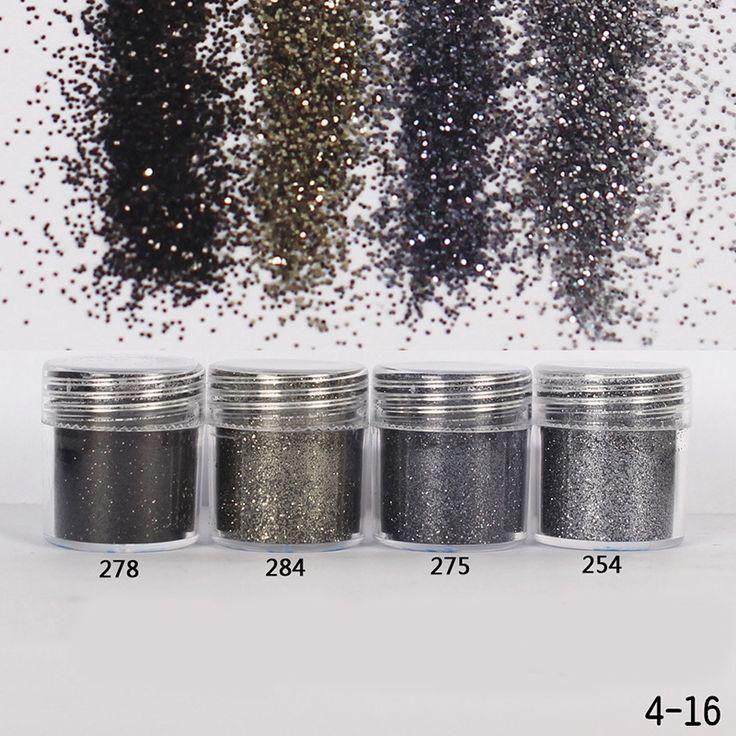 1 Unid Brillo de Uñas 10 ml Gradiente ultra-delgada de Plata Bronce Gris Lentejuelas Tips Manicura de Uñas Purpurina En Polvo Láser Nail Art Decoración