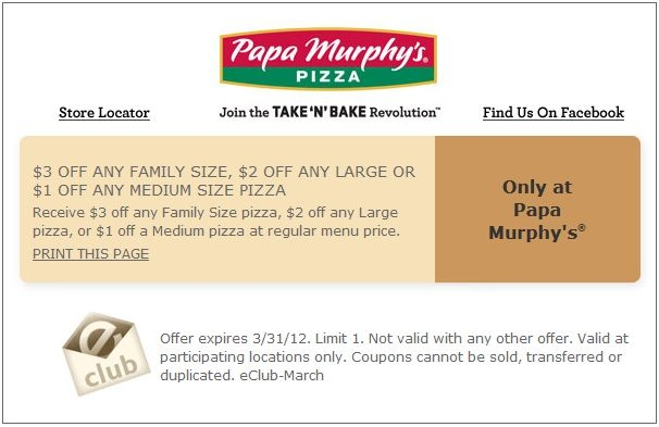 $1-$3 off at Papa Murphy's Pizza!