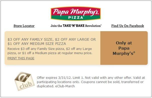 $1-$3 off at Papa Murphy's Pizza! #coupon