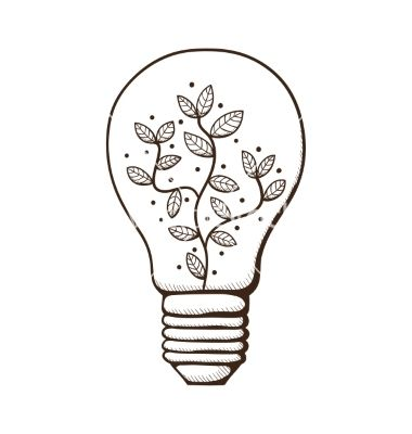 Light Bulbs Drawings: Light bulb with leaves within vector by Chuhail on VectorStock®,Lighting