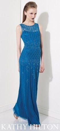 Mavi, işlemeli uzun abiye modeli,  Kathy Hilton abiye