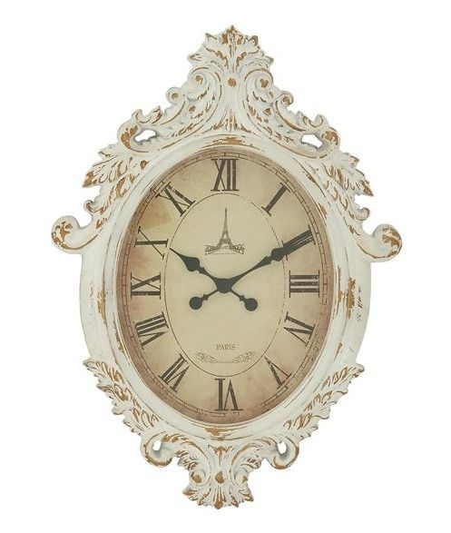 Baroque White Wall Clock - Our vintage style large white wall clock features an elegant oval carved wood frame with an intricate scroll pattern and distressed finish. French style wall clocks offer functional wall art.