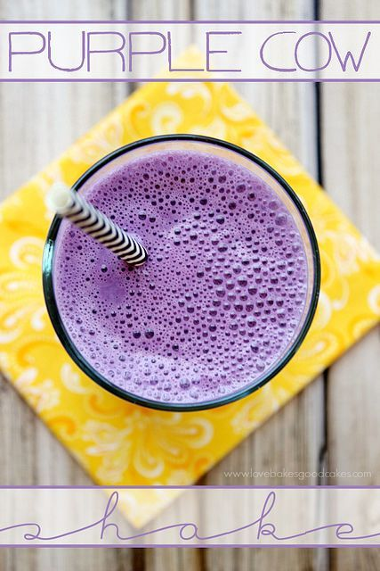Treat yourself to this Purple Cow Shake! Only 3 ingredients! Easy and delicious!
