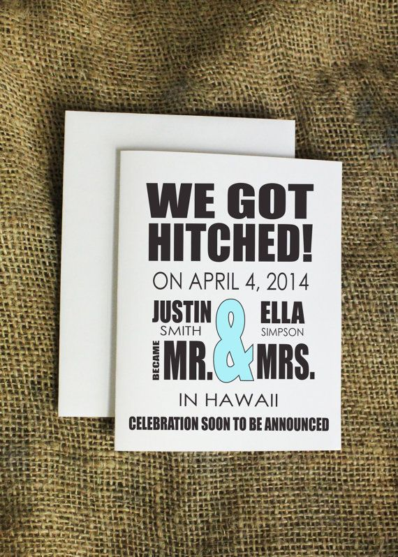 We Got Hitched marriage announcement by LissaLooStationery on Etsy, $2.25