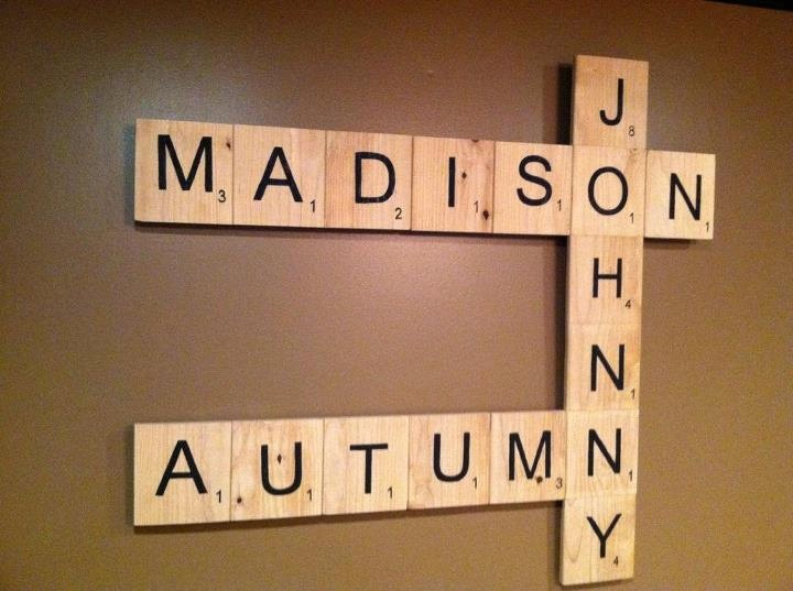 Custom Scrabble Letter Wall Art by EleganceInWords on Etsy TOO CUTE!