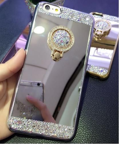 For iPhone 7 Case Luxury Women Diamond Glitter Mirror Cover With 360 Phone  Ring Stand Soft Case For iPhone 5S 6S 7 8 Plus X Case 96db2694eb