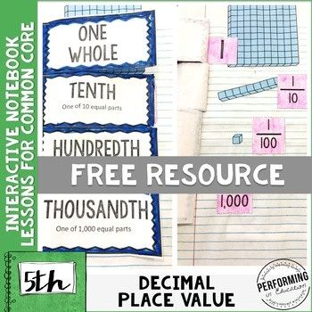 5th Grade Math Interactive Notebook NBT Decimal Place Valu