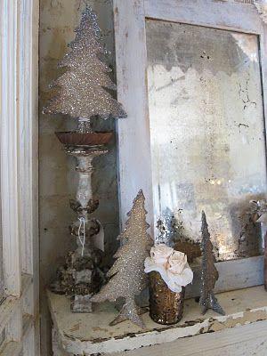 glitter tree vignette: Trees Vignettes, Vintage Mirrors, Kbm Design, Mercury Glass, Christmas Decor, Christmas Trees, Christmas Ideas, Holiday Celebrities Ideas, Merry Christmas