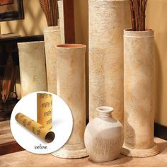 Diy Decorative Faux-Stone Columns made from cardboard building forms (Home Depot/Lowes) & cheap terra-cotta flower pots then textured with joint compound!  - Tutorial -  So Cool!
