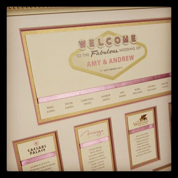A Great Vegas Themed Wedding Seating Plan