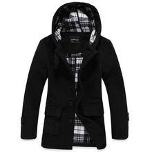 lana y mezclas hombres trajes de marca chaquetas de invierno Casual largas espesar abrigo de lana de abrigo ropa hombre