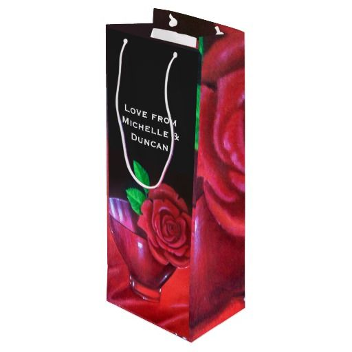 40th Ruby Wedding Anniversary Red Rose Wine Gift Bag
