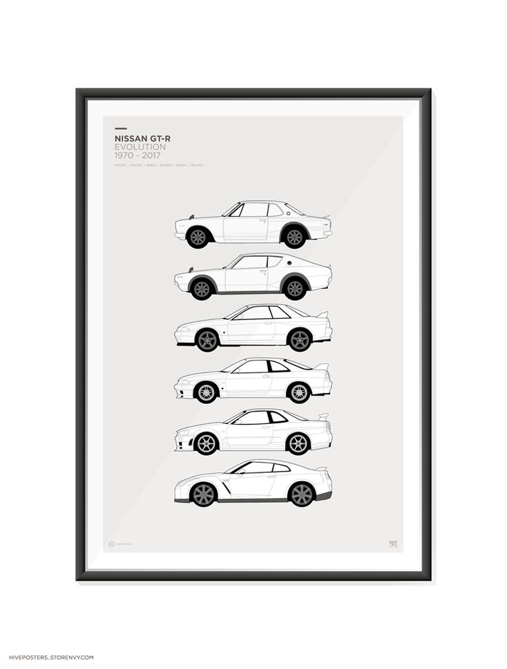 "Nissan+Skyline+GT-R+Poster    Features+the+Nissan+Skyline+/+GT-R+/+Godzilla+Generations.  KPGC10,+KPGC110,+R32,+R33,+R34,+GT-R+R35.    A2+420mm+x+600mm+(23.4""+x+16.5"")    These+are+high+quality+fine+art+prints.  Printed+using+an+Epson+Stylus+Pro+printer+onto+190gsm+satin+photo+paper.  Incredible+..."