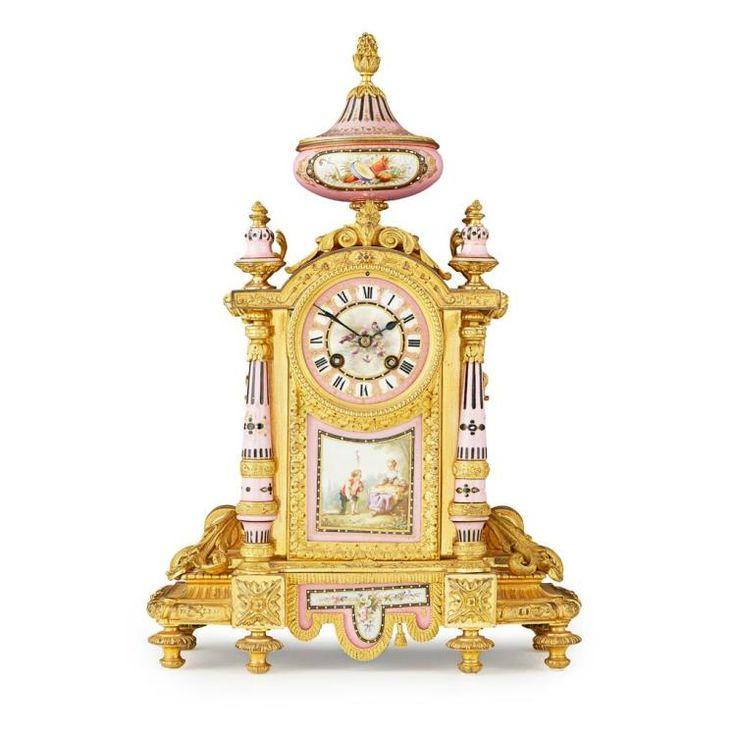 FRENCH PINK GROUND PORCELAIN AND GILT BRONZE MANTEL CLOCK, JAPY FRERES ET CIE 19TH CENTURY 30cm wide, 45cm high, 15cm deep
