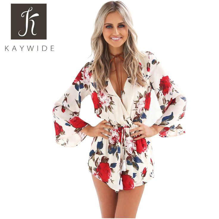 Kaywide kwiatowy print letnie pajacyki kobiet kombinezon flare rękawem plisowana talia v neck krótki sexy bodycon playsuit macacao curto