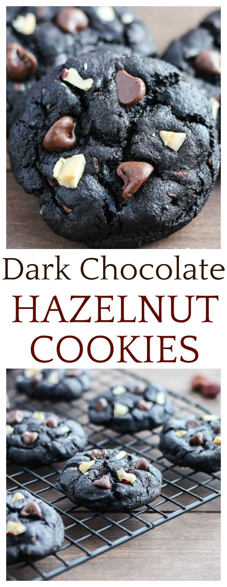Loaded with rich chocolate flavors and chopped hazelnuts, these Dark Chocolate Hazelnut Cookies are delicious without being overly sweet! They are the perfect cookie to share with loved ones his holiday season!