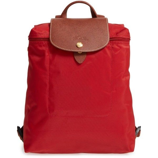 Women's Longchamp 'Le Pliage' Backpack ($125) ❤ liked on Polyvore featuring bags, backpacks, burnt red, rucksack bags, flap backpack, longchamp rucksack, strap bag and strap backpack