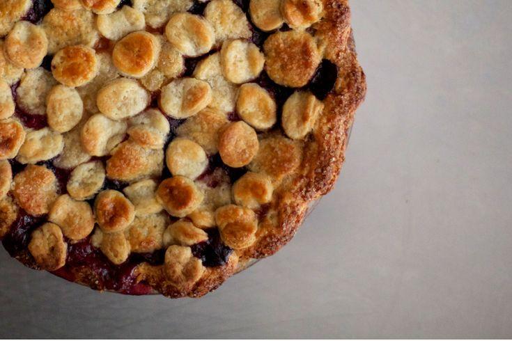 peach, plum & blueberry pie.