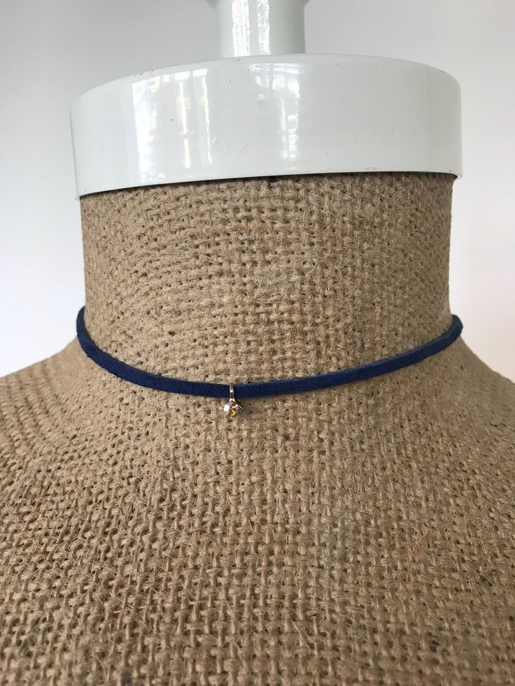 Navy Blue Suede Choker Wrap Necklace with a Silver Rhinestone Charm by EdieLucyDesigns on Etsy