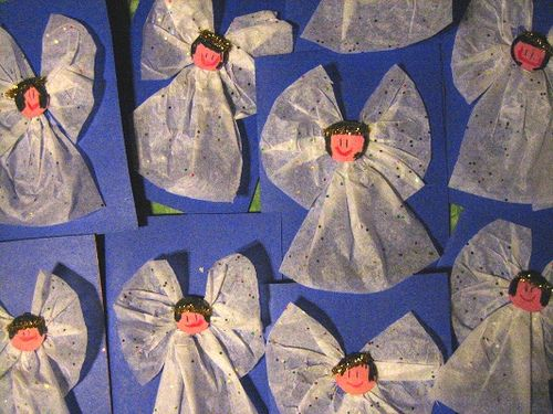 Tissue paper angles - christmas craft ideas for preschoolers for parents--small photos of kids faces on head.