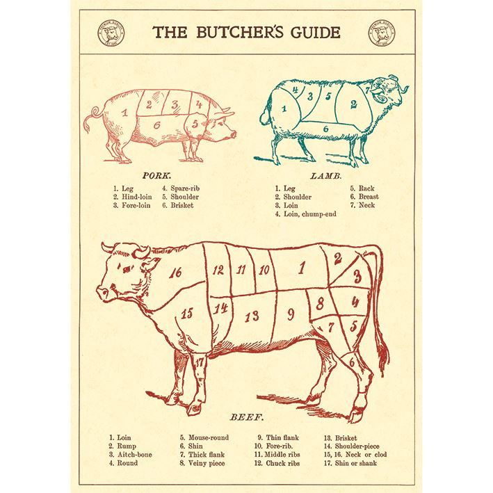 Poster/Giftwrap - The Butchers Guide at Evans and Hall $6.95 #Cavallini