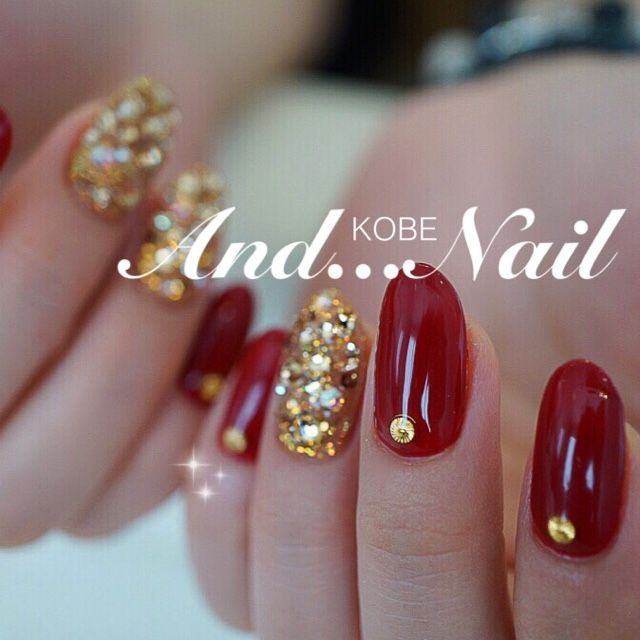Nail image Kobe ★ and nail ★ Okaba 1174905 Red Gold Bijoux one color autumn winter soft gel hand Medium Long