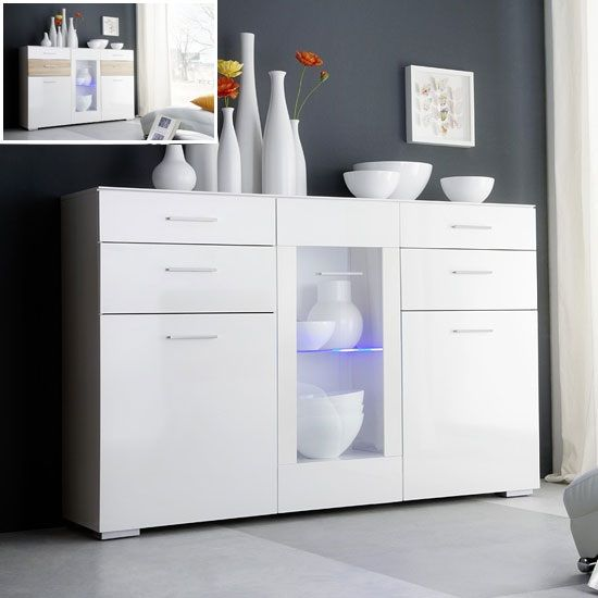 Portland Sideboard In White High Gloss With LED Light