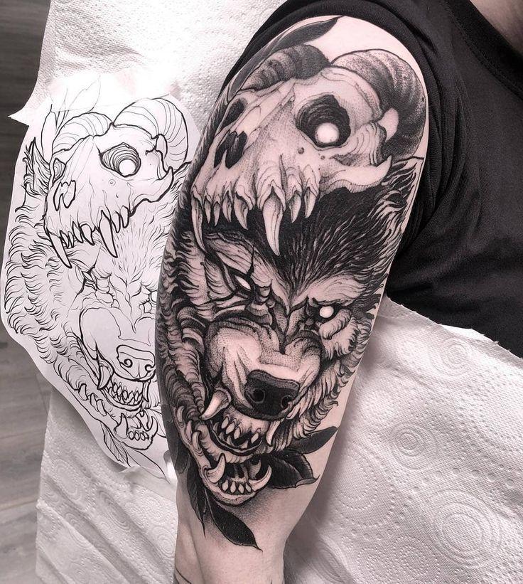 Фото тату череп с волком