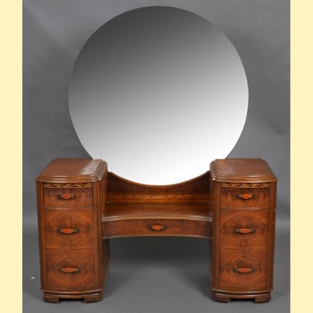 1940 S Round Mirror Waterfall Style Vanity For The Home