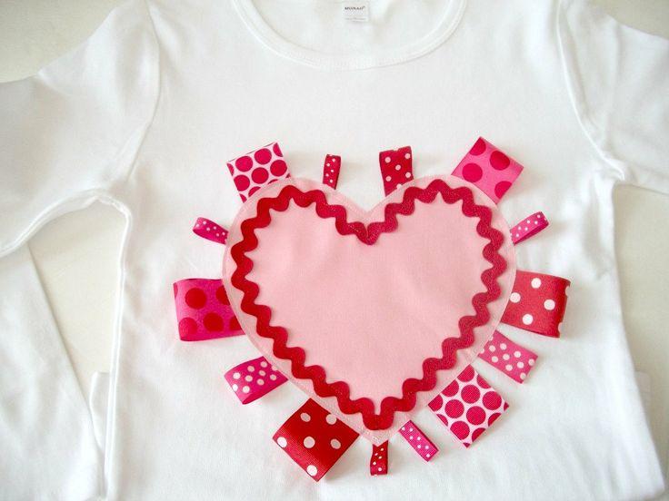 Valentine Shirt or Onesie- Ribbon Heart- Sizes NB-6 girls. $20.00, via Etsy.