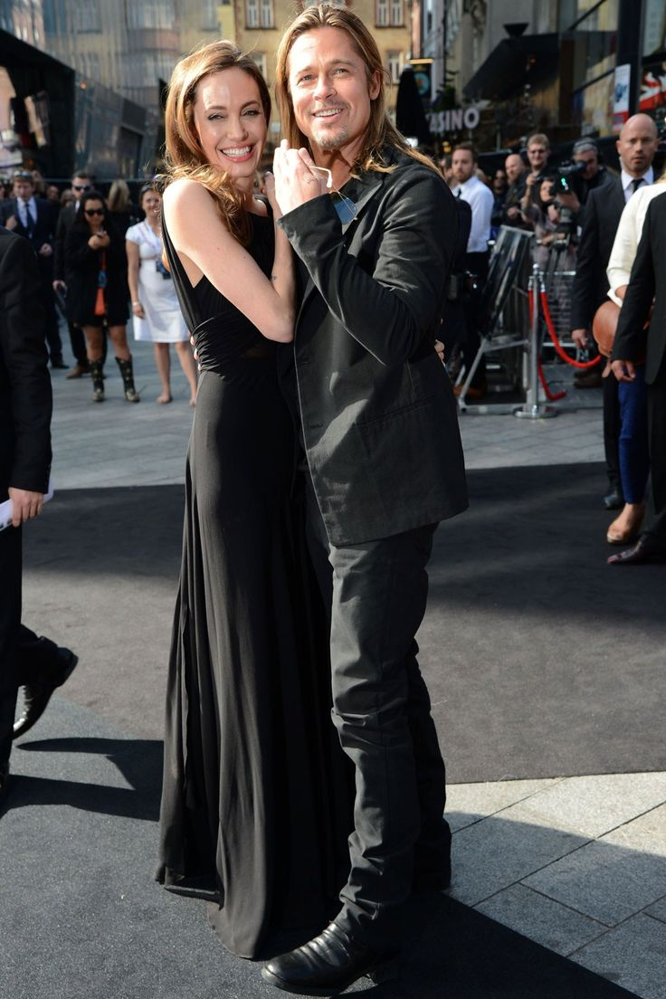 Angelina Jolie in custom made Saint Laurent and Brad Pitt at the World War Z première