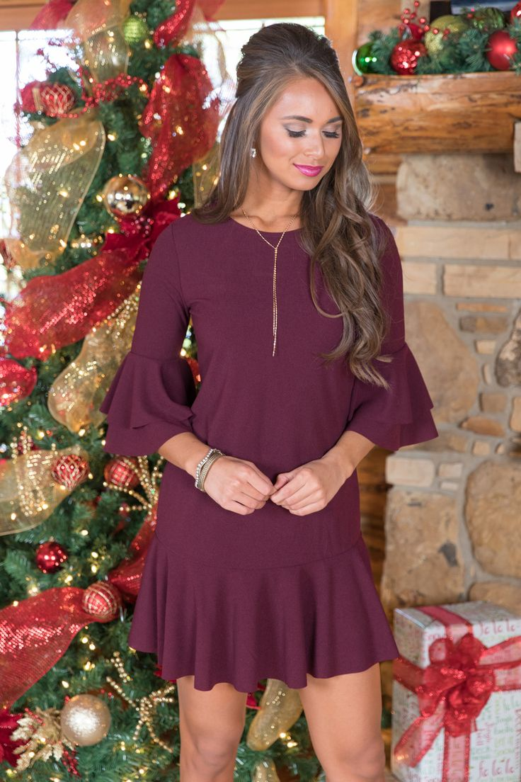 She's The Talk Of The Town Dress Burgundy - The Pink Lily