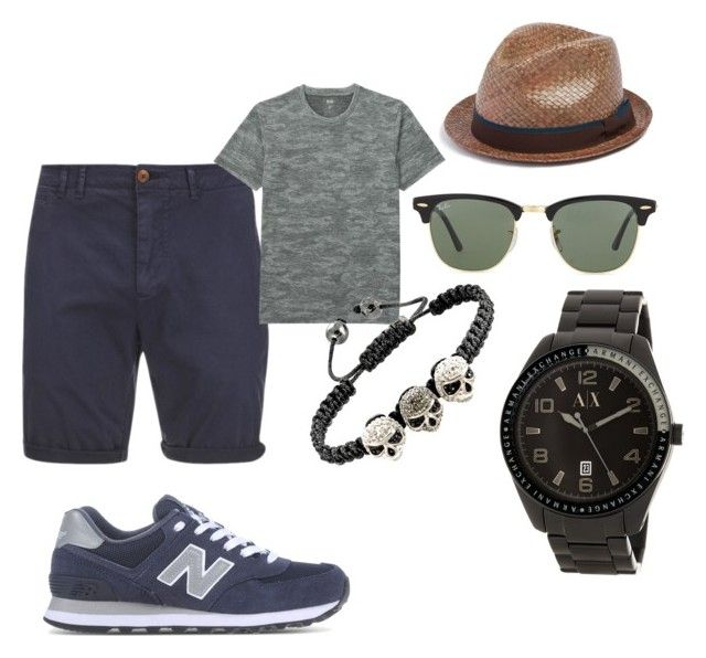 """Outfit for new balance"" by mihai-cosmin on Polyvore featuring New Balance, Scotch & Soda, Uniqlo, Ray-Ban, Armani Exchange, Paul Smith, men's fashion and menswear"
