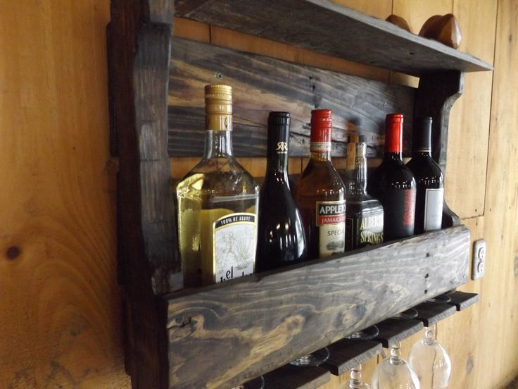 Handmade Reclaimed Palletwood Wine Rack with 5 Wine Glass Holders (#4) by Dutchiez on Etsy https://www.etsy.com/ca/listing/263369138/handmade-reclaimed-palletwood-wine-rack