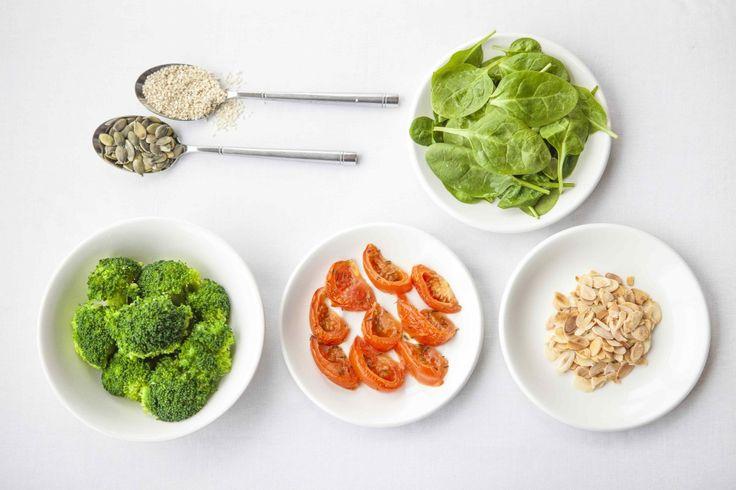 Broccoli, almond and tomato salad