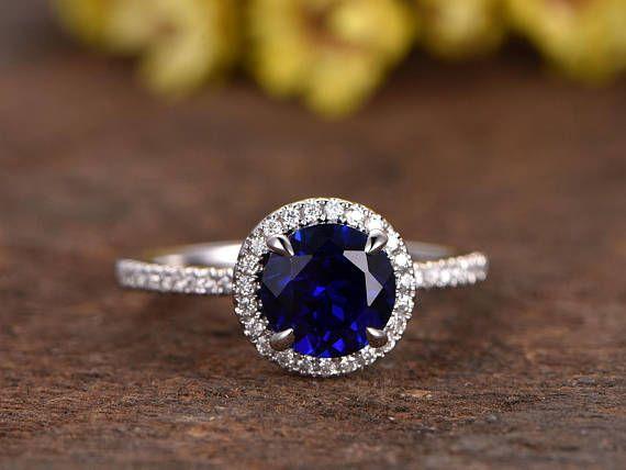 14k White Gold Sapphire Engagement Ring Blue Sapphire Ring Etsy Blue Engagement Ring Sapphire Engagement Ring Blue White Gold Sapphire Engagement Rings