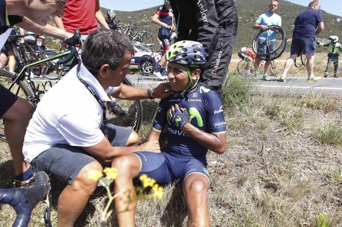 Vuelta a España 2014 - Stage 11: Pamplona - San Miguel de Aralar (Navarre) 153.4km - #LaVuelta #LaVuelta2014 #Vuelta #Vuelta2014 #VueltaEspana - Nairo Quintana (Movistar) suffered a broken scapula