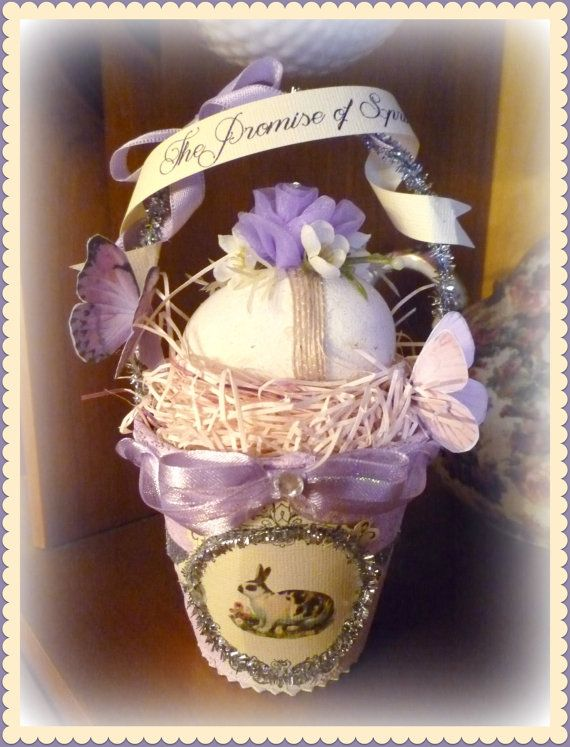 Vintage Inspired Altered Peat Pot Basket by CloudNineAdornments, $15.00