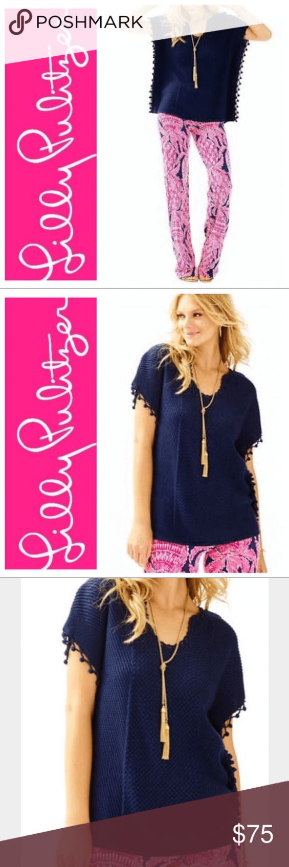 Lilly Pulitzer Navy Blue KEATING PONCHO SWEATER Lilly Pulitzer Navy Blue KEATING...