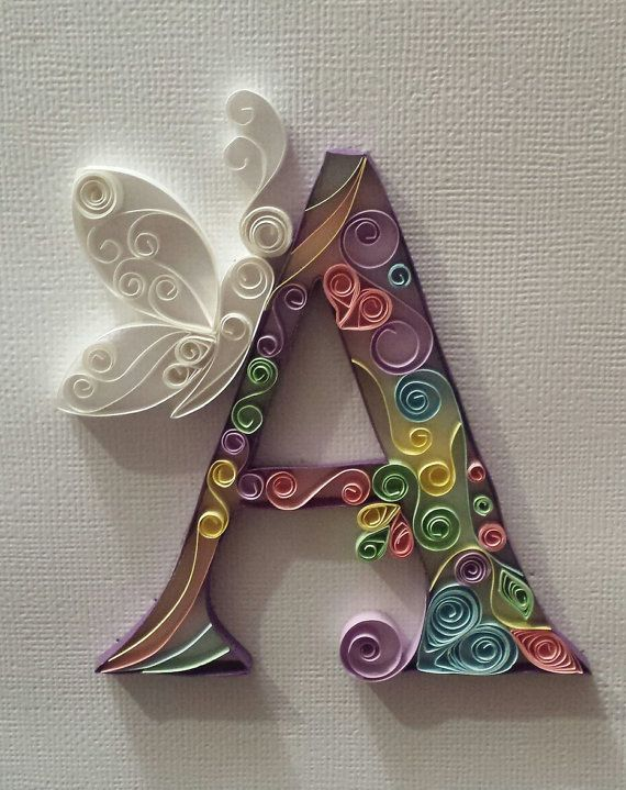 Quilled Paper Art Decorative letters. Any letter Available, Each piece is handmade to order, in a range of colours. Great for Nursery, a