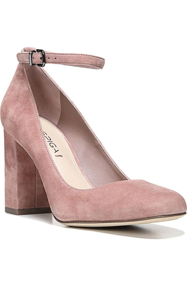 Adoring the dusty rose color of these suede pumps from Via Spiga. They feature a slender ankle strap and covered block heel.