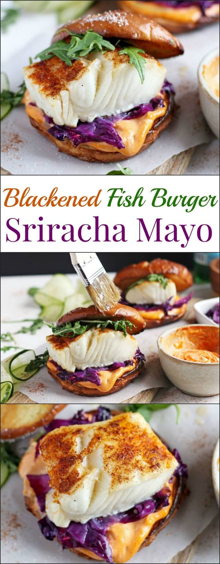 This blackened fish burger   sriracha mayo is a quick and easy weeknight meal that is healthy and bursting with flavor!  Ready and on your table in 30 minutes! ohsweetbasil.com