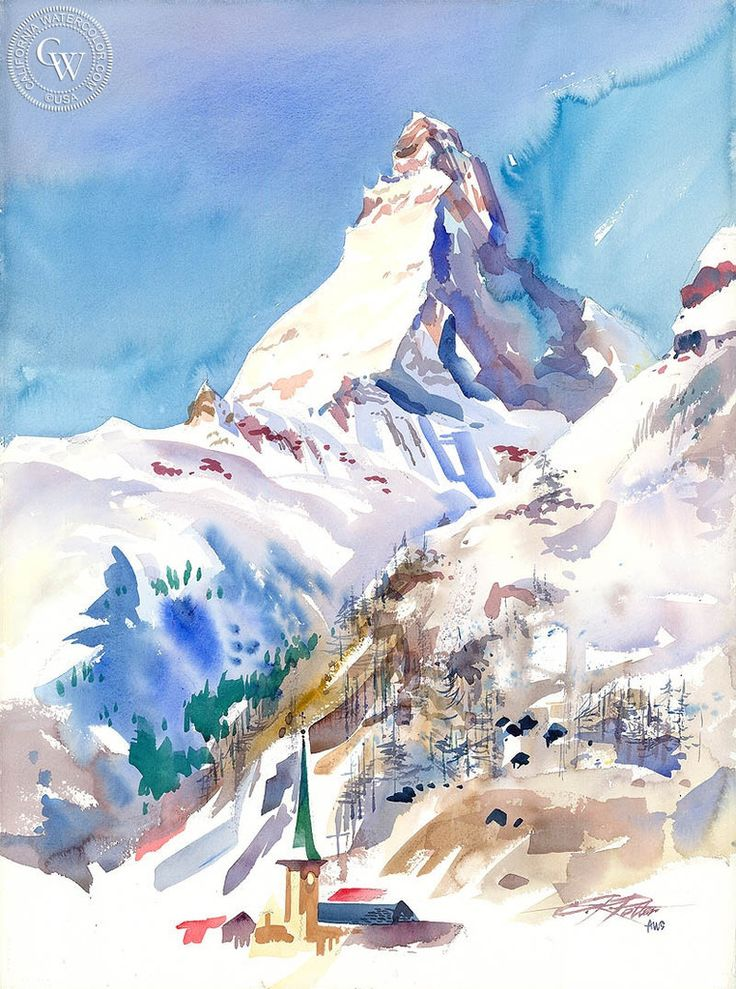Matterhorn, Switzerland, 1993, California art by Ken Potter. HD giclee art prints for sale at CaliforniaWatercolor.com - original California paintings, & premium giclee prints for sale