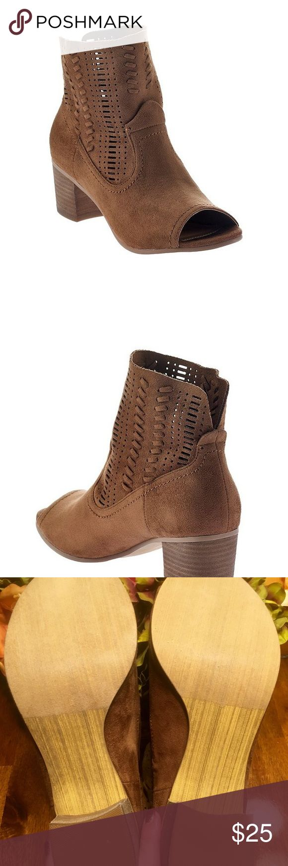 """""""Not Rated"""" Open toe booties, Brand New! Not Rated, size 9. Open toe bottles. Brown suede with neat open details on the ankle. Too big for me. Not Rated Shoes Ankle Boots & Booties"""