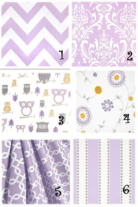 Baby girl nursery fabric valance purple lavender pillow for Purple baby fabric