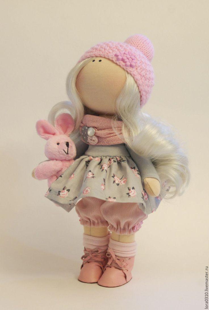 Купить Софи - розовый, кукла ручной работы, текстильная кукла, блондинка, интерьерная кукла